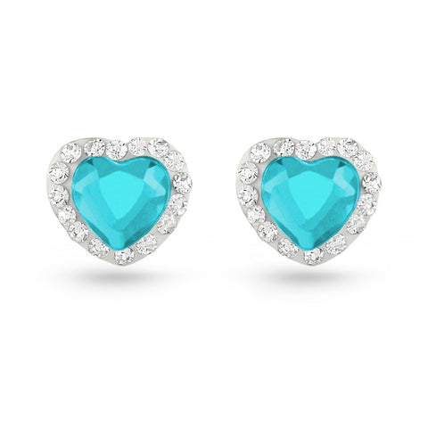 Aquamarine Heart Crystal Stud Earrings