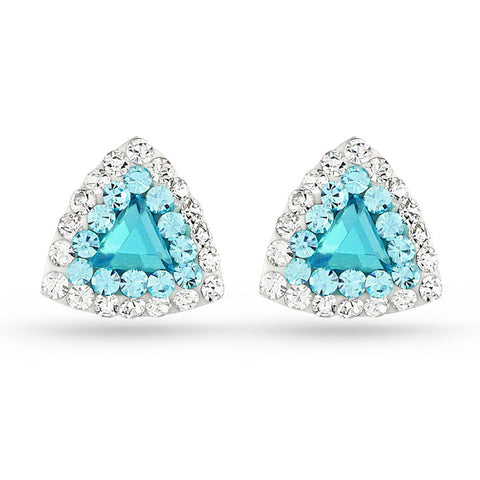 Aquamarine Triangle Crystal Stud Earrings