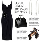 Silver Cross Threader Earrings