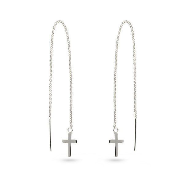 Silver Cross On Chain Ear Threaders Earrings