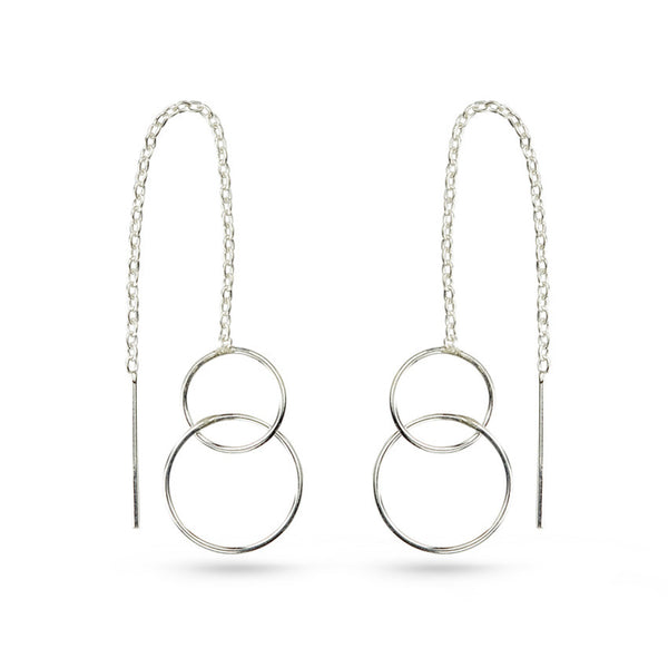 Silver Circles On Chain Ear Threaders Earrings