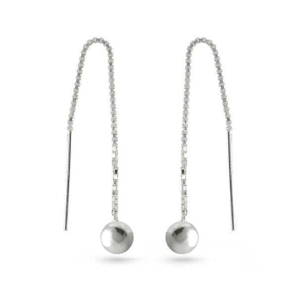 Silver Ball On Chain Ear Threaders Earrings