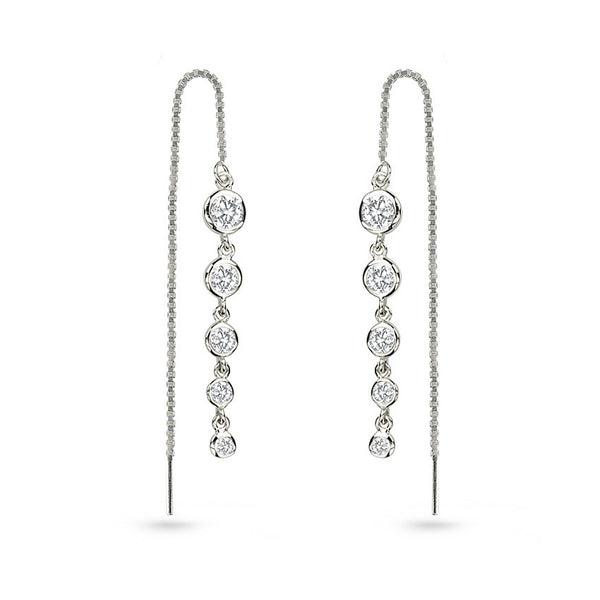 Gold Plated Cubic Zirconia Sterling Silver Ear Threaders Earrings