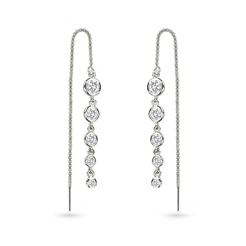 Cubic Zirconia Round Ear Threaders