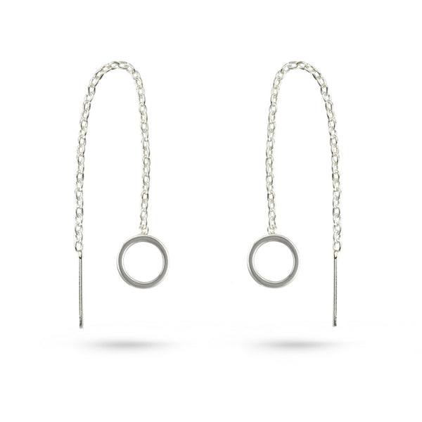 Silver Circle Threader Earrings Sterling Silver Chain