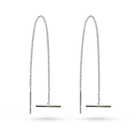Silver Bar Threader Earrings