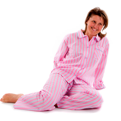 Ladies Pyjamas in fine Egyptian cotton candy pink stripe, by The Pyjama House
