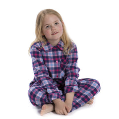 Brushed Cotton Pink and Navy Check Pyjamas for Girls