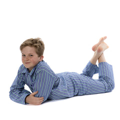 Fine Cotton Deep Blue with Green Stripe Boys Pyjamas