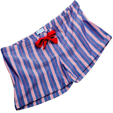 Fine Cotton Deep Blue and Red Stripe Girls Sleep Shorts