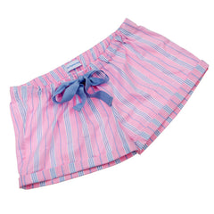 Candy Stripe Fine Cotton Girls Sleep Shorts