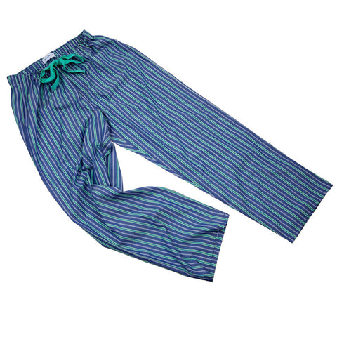Deep Blue with Green Stripe Fine Cotton PJ Bottoms