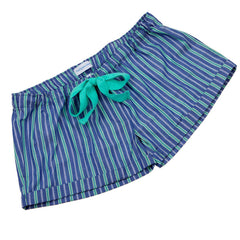 Deep Blue with Green Stripe Fine Cotton Girls Sleep Shorts