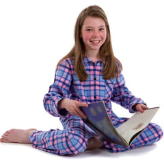 Brushed cotton heather check pyjamas for girls