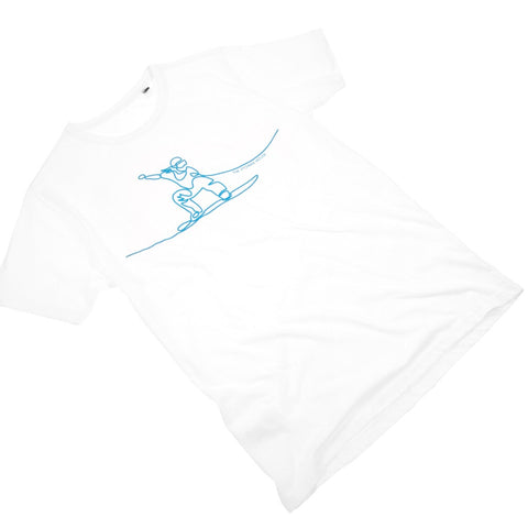 White Ecologie Tee Shirt with Snowboarder in Blue