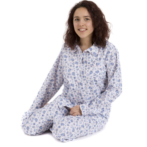 Fine Cotton Seashell Print Ladies Pyjamas