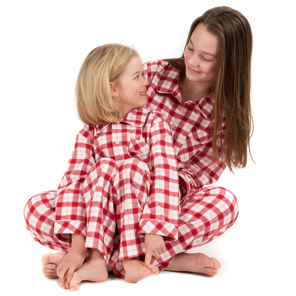 Brushed Cotton Red, Pink and Cream Check Girls Pyjamas