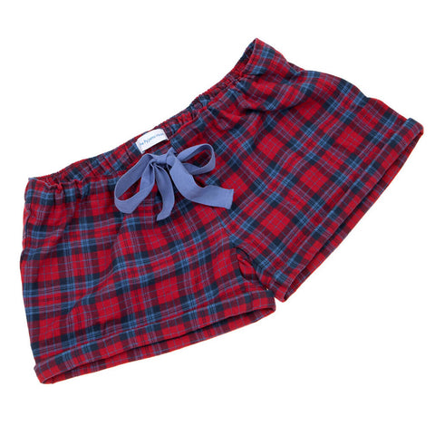 Red and Navy Tartan Brushed Cotton Girls Sleep Shorts