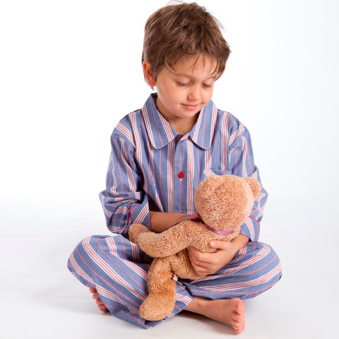 Fine Cotton Deep Blue and Red Stripe boys pyjamas