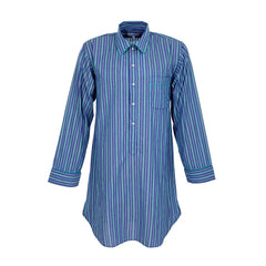 Deep Blue and Green Pinstripe Fine Cotton Adult Nightshirt