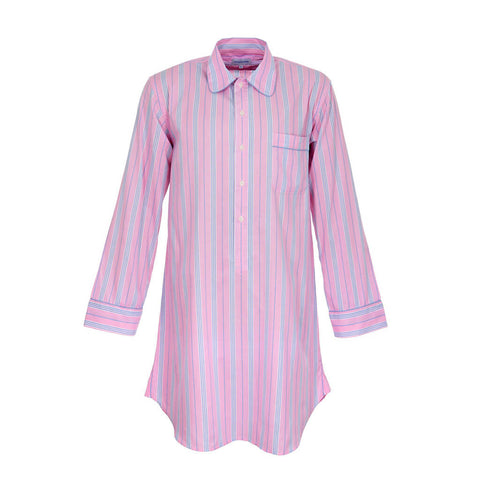 Candy Pink Stripe Adult Nightshirt in Fine Egyptian Cotton