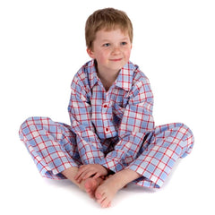 Pale blue and red check fine cotton boys pyjamas