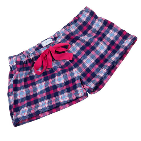 Pink and Navy Brushed Cotton Girls Sleep Shorts