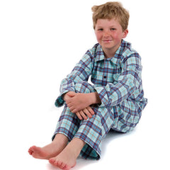 Brushed cotton spearmint blue check boys pyjamas with navy piping and buttons