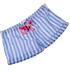Pale blue and pink fine cotton sleep shorts