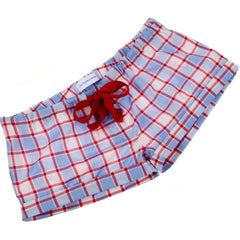 Pale blue and red check fine cotton sleep shorts