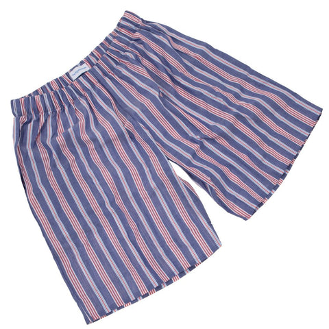 Fine Cotton Deep Blue and Red Stripe PJ Shorts for Boys/Men