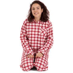 Brushed Cotton Red, Pink and Cream Check Ladies Pyjamas