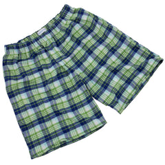 Brushed Cotton Green and Navy Check PJ Shorts for Boys/Men