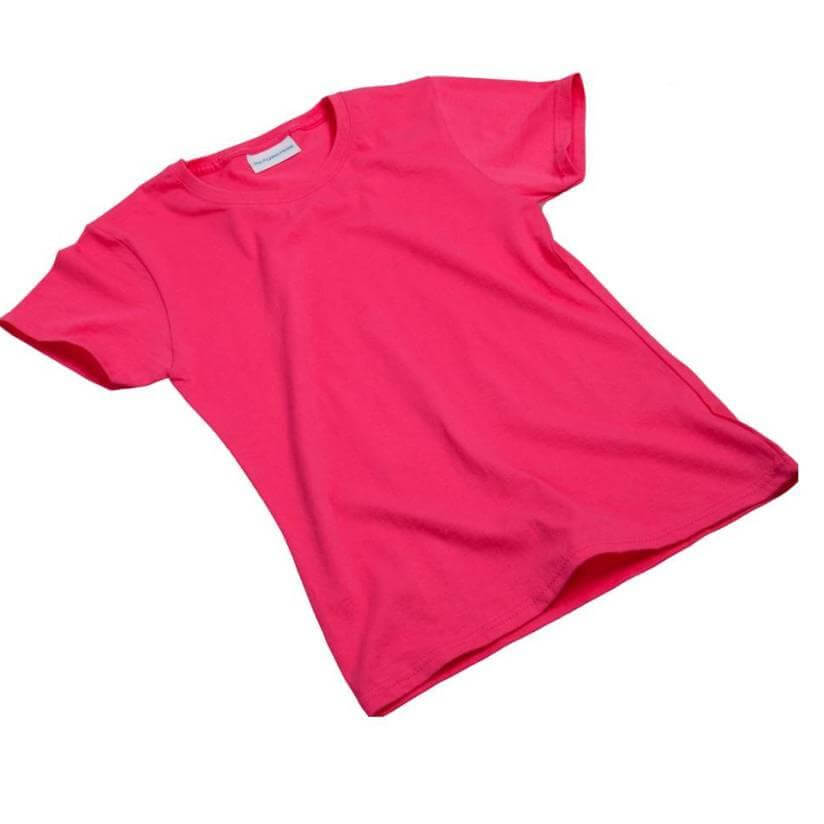 Hot pink girls tee shirt, short sleeve