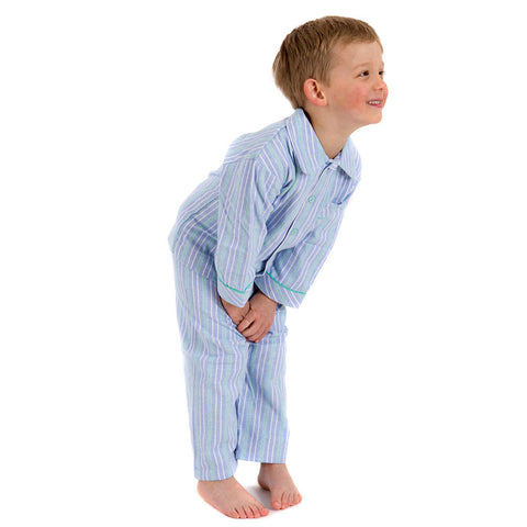 Brushed Cotton Pale Blue and Aqua Stripe Boys Pyjamas