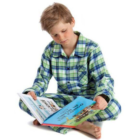 Brushed Cotton Green Multicheck Pyjamas for Boys