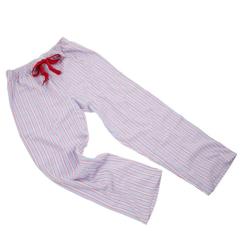 Brushed Cotton Pale Blue with Red Stripe PJ Bottoms with Red Tie