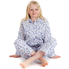 Fine cotton seashell print pyjamas for girls