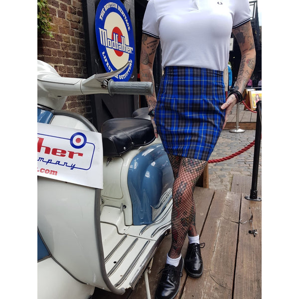 Modfather Clothing x Love Her Madly - Blue & Grey - Tartan Skirt