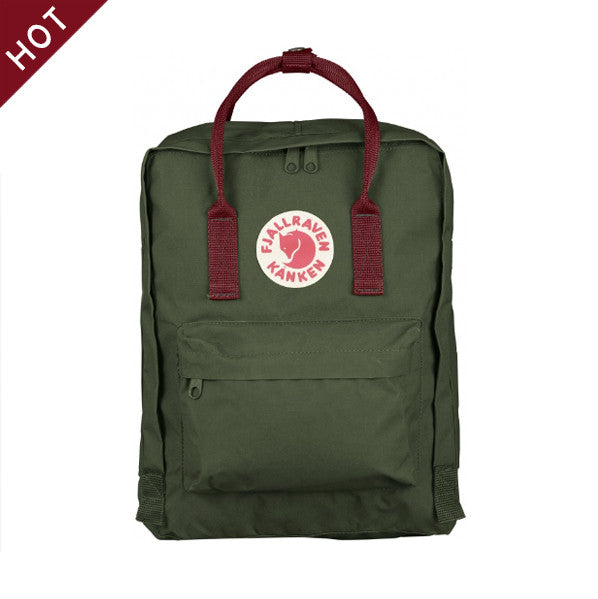 FJALLRAVEN Kånken - Forest Green x Ox Red.