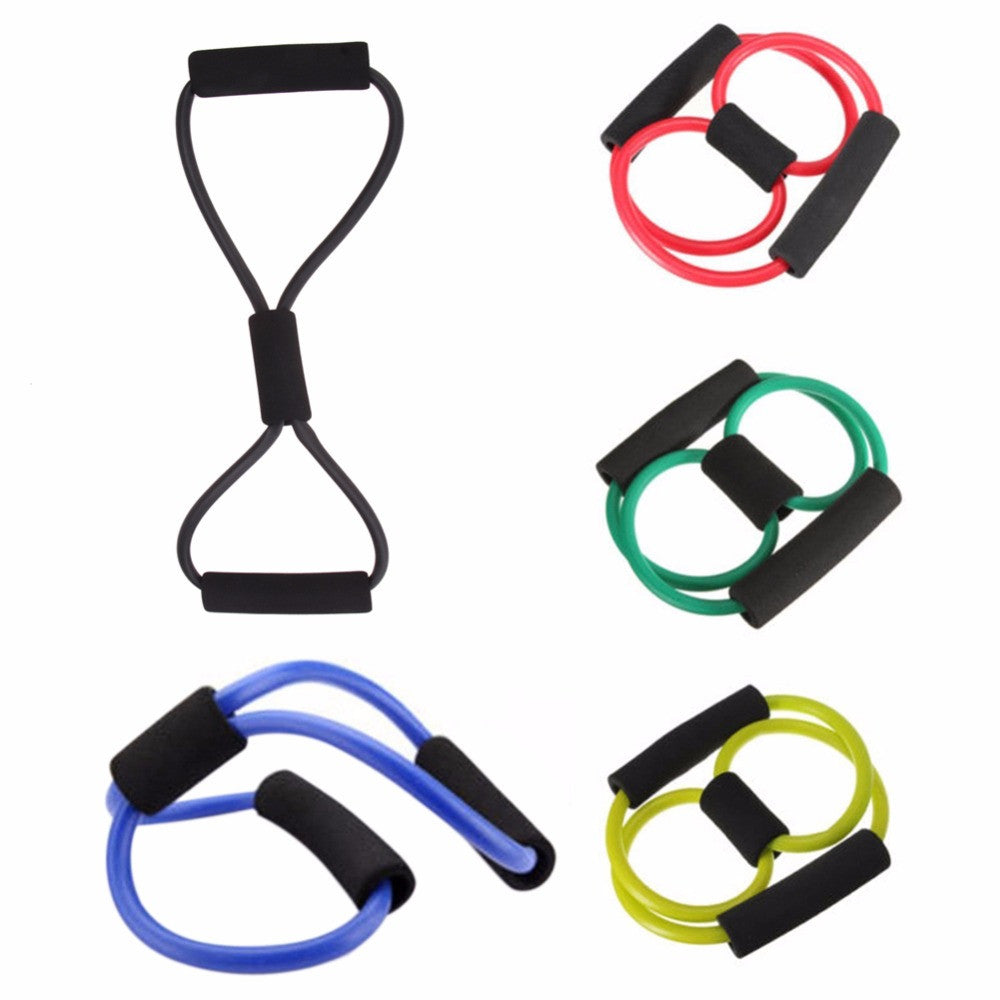Portable Yoga Tube 8 Type High Quality Rubber Latex Muscle Training Resistance Band Elastic Pull Rope Gym Fitness ! Random Color