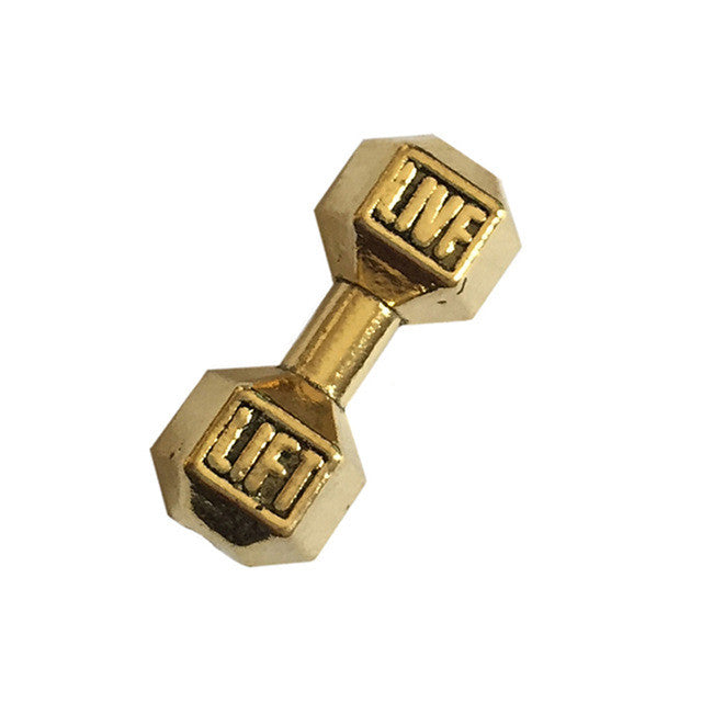 6pcs/lot Material barbell Silver gold color Fitness Gym Sport Motivation LIVF LIFT Dumbbell Bead Charm for diy Jewelry XY160422