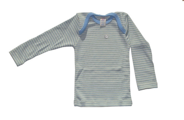 Long Sleeved Children's Vest with Envelope Neck in 70% Merino Wool / 30% Living Silk