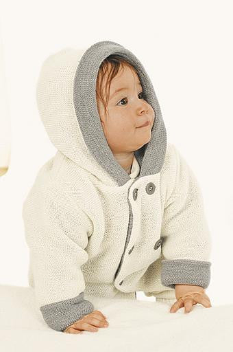 Disana Double Breasted Knitted Cardigan with Hood in 100% Organic Merino Wool