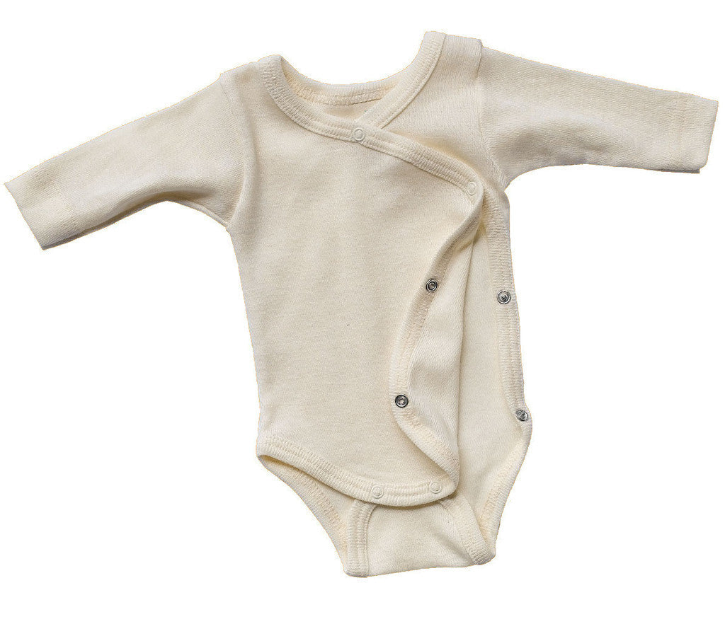 Long Sleeved Babies Cross-Over Body Vest in Organic Cotton