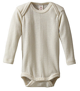 Long Sleeve Body with Crutch Poppers in Organic Merino Wool