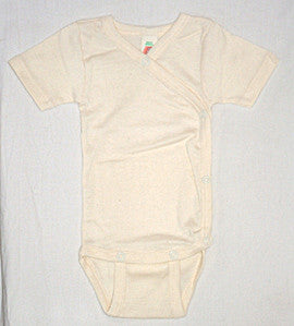 Short Sleeved Babies Cross-over body vest in Organic Cotton