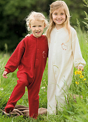 Long Sleeved All-In-One Sleep-Suit with Front Poppers in Organic Merino Wool