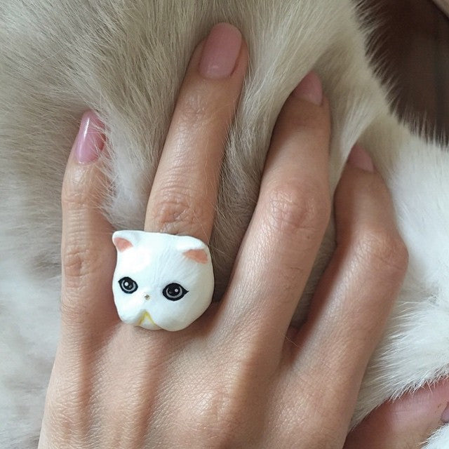 Good After Nine | ZEUS Exotic White Short Hair Cat Ring - lucylovesneko