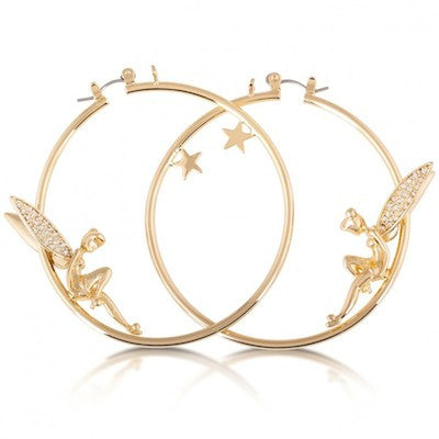 Disney Couture | Gold Crystal Tinkerbell & Star Hoop Earrings - lucylovesneko - 1